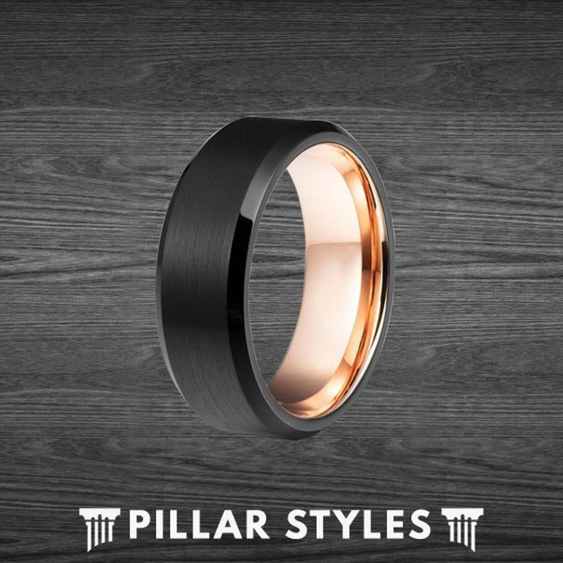 Black Tungsten Ring with 18K Rose Gold Inner Sleeve - Pillar Styles