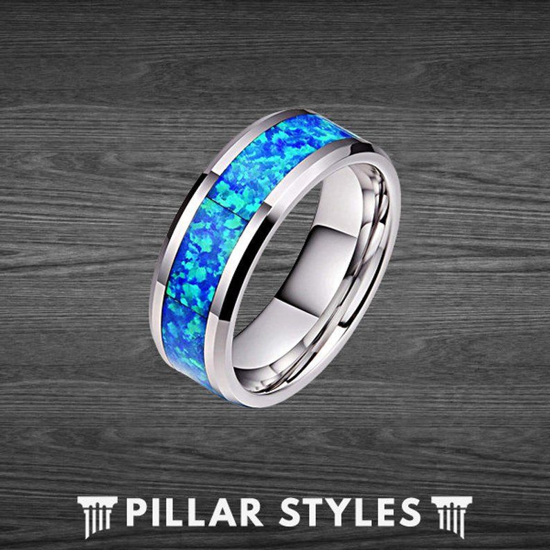 8mm & 6mm Blue Opal Ring Tungsten Wedding Band Couples Ring Set - Pillar Styles