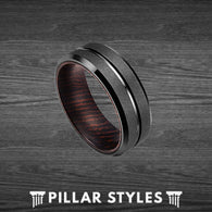 Unique Wenge Wood Ring Black Tungsten Ring Mens Wedding Band - Pillar Styles