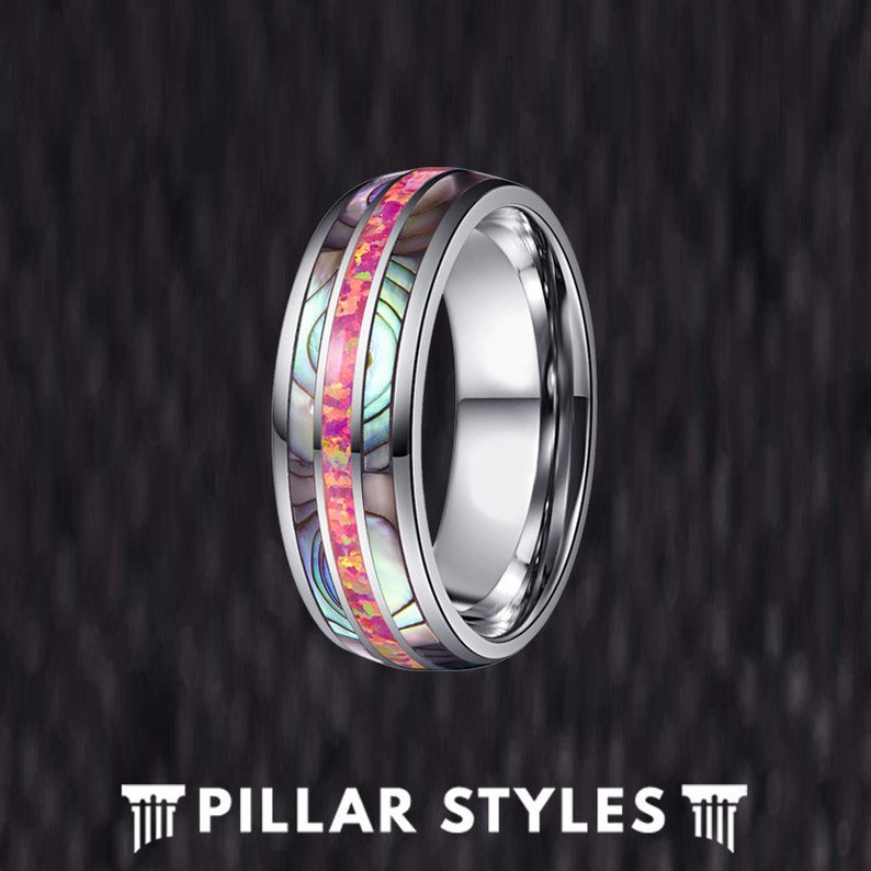 Red Opal Ring Tungsten Wedding Band - Abalone Ring for Men - Pillar Styles