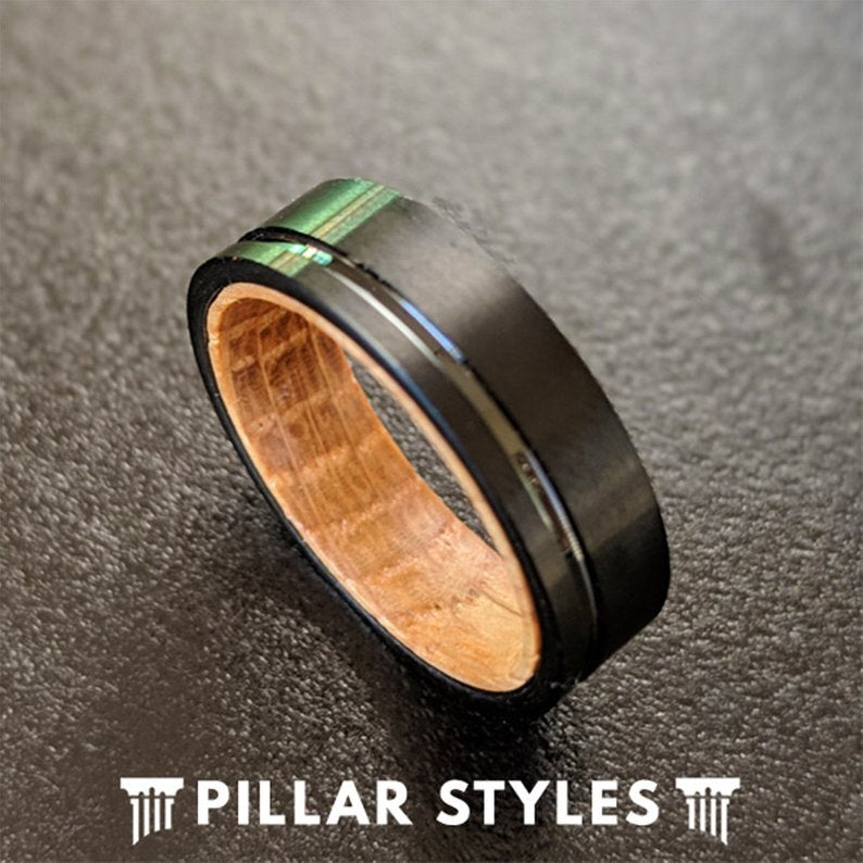 6mm Whiskey Barrel Wood Rings for Men - Black Tungsten Wood Ring - Pillar Styles
