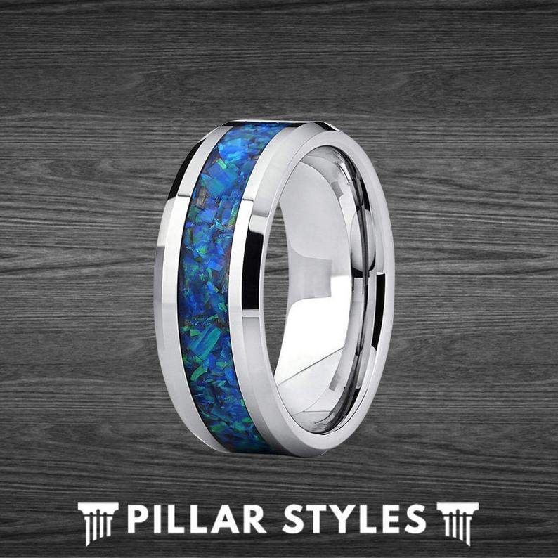 Blue Fire Opal Ring Tungsten Wedding Band - 8mm Green Opal Ring for Men - Pillar Styles
