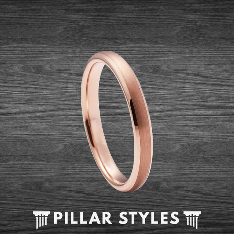 18K Rose Gold Ring 3mm Thin Wedding Band Womens Ring - Pillar Styles