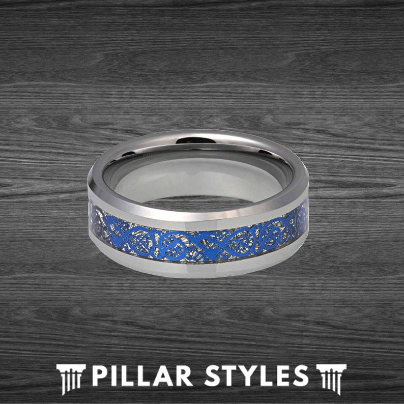 Blue Viking Ring Mens Celtic Knot Wedding Band Carbon Fiber Ring - Silver Dragon Ring - Pillar Styles
