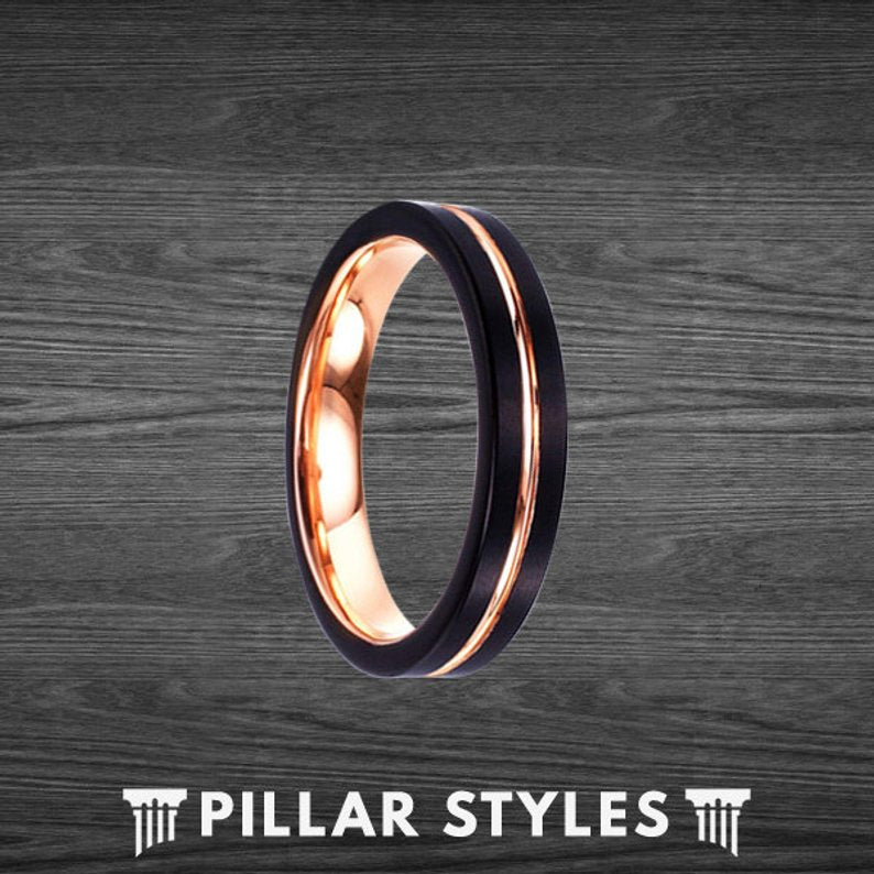 Black Tungsten Wedding Bands Womens Ring 4mm Rose Gold Ring - Pillar Styles