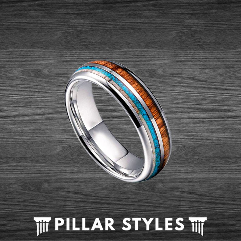 Koa Wood Ring Tungsten Wedding Band Mens Ring - Pillar Styles
