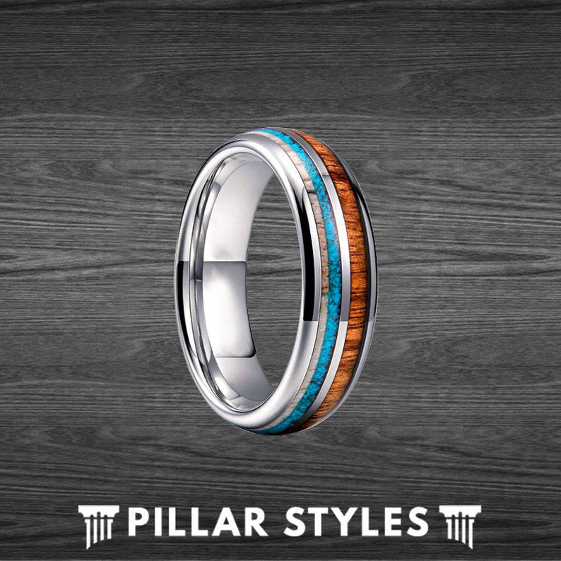 6mm Koa Wood Ring Tungsten Wedding Band Mens Turquoise Ring with Deer Antler Inlay - Pillar Styles