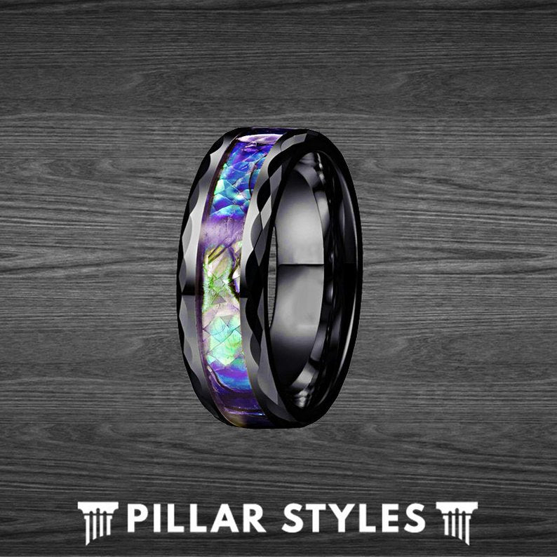 Abalone Hammered Ring Black Tungsten Wedding Band - Pillar Styles