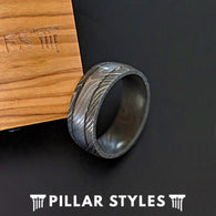 Damascus Steel Ring with Dual Grooves - Pillar Styles