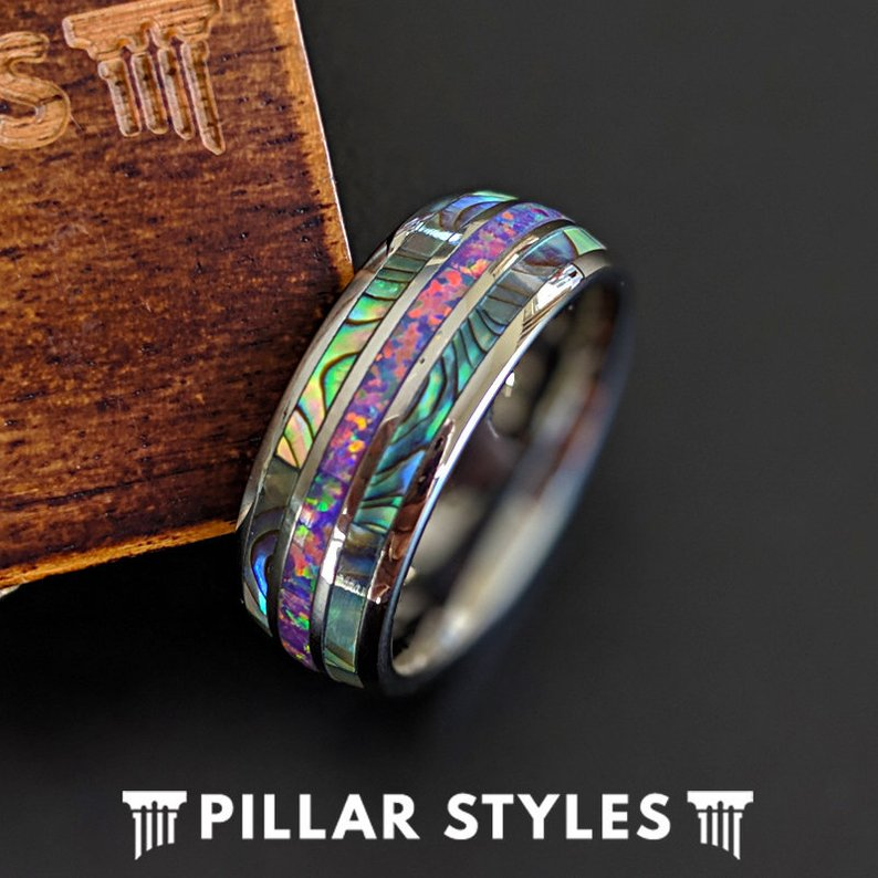 Unique Abalone Ring Mens Wedding Band with Opal Inlay Ring - Pillar Styles