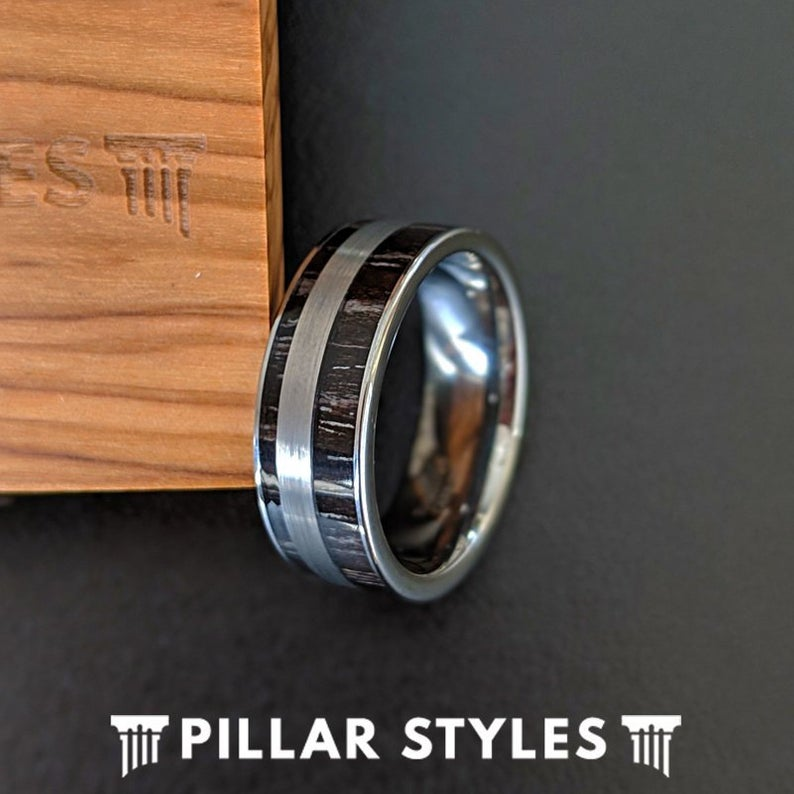 Silver Tungsten Ebony Wooden Wedding Band - Pillar Styles