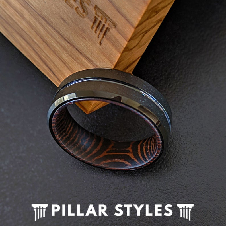 Exotic Wenge Wood Ring Mens Wedding Band - 8mm Tungsten Wood Wedding Ring for Men - Pillar Styles
