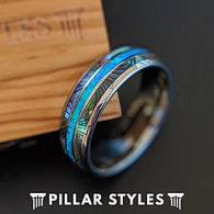 Tungsten Wedding Band Mens Abalone Shell Blue Opal Ring - Pillar Styles