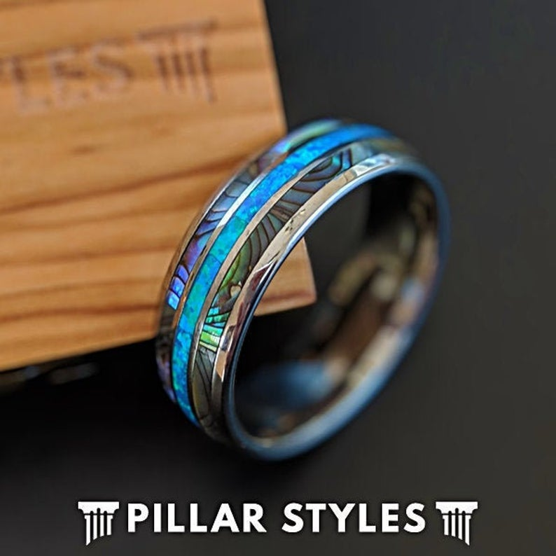 Tungsten Wedding Band Mens Abalone Shell Blue Opal Ring