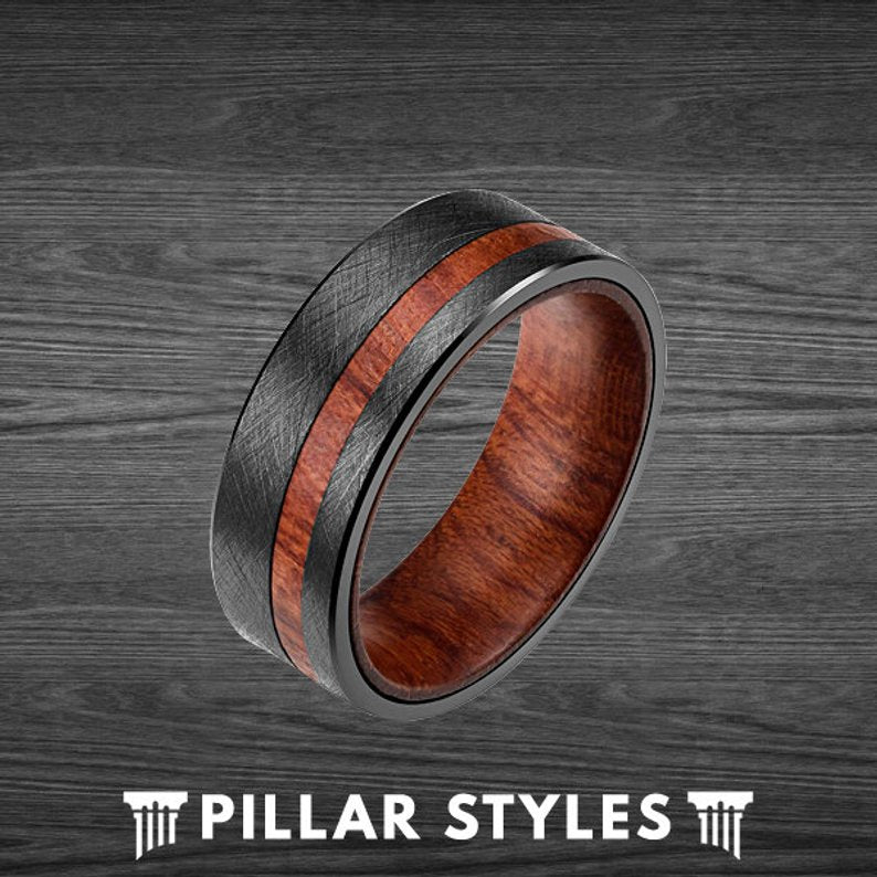 Unique Wood Wedding Band Mens Ring Rose Wood Ring for Men - Pillar Styles