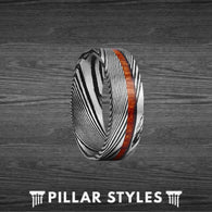 Damascus Steel Ring with Sandal Wood Inlay - Pillar Styles