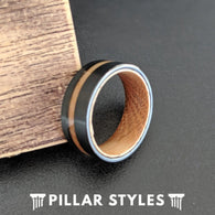 Whiskey Barrel Ring Offset Wood Inlay Ring - Tungsten Wood Wedding Band Mens Ring - Pillar Styles