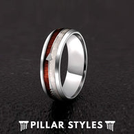 Deer Antler Rings Wood Wedding Band with Arrow Inlay Mens Ring - Pillar Styles