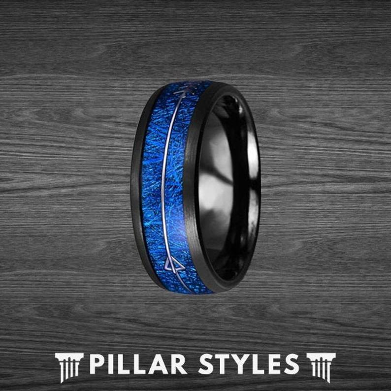 Meteorite Mens Wedding Band with Blue Arrow - Pillar Styles