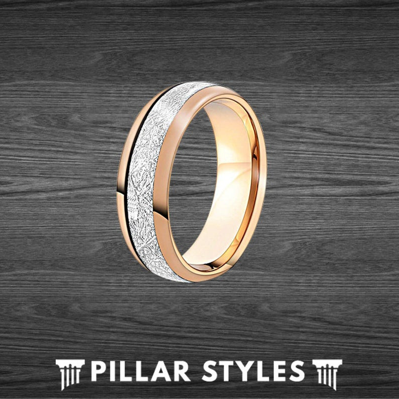 Tungsten Rose Gold Meteorite Ring Mens Wedding Band - Unique Rose Gold Ring - Pillar Styles