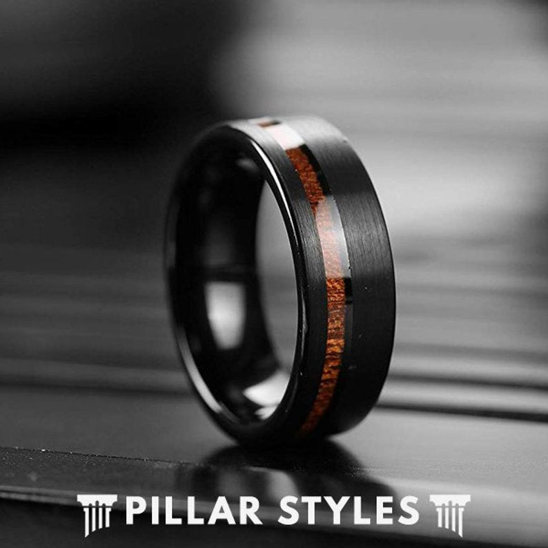 Koa Wood Ring Black Tungsten Wedding Band Mens Ring - Koa Wood Wedding Band - Pillar Styles