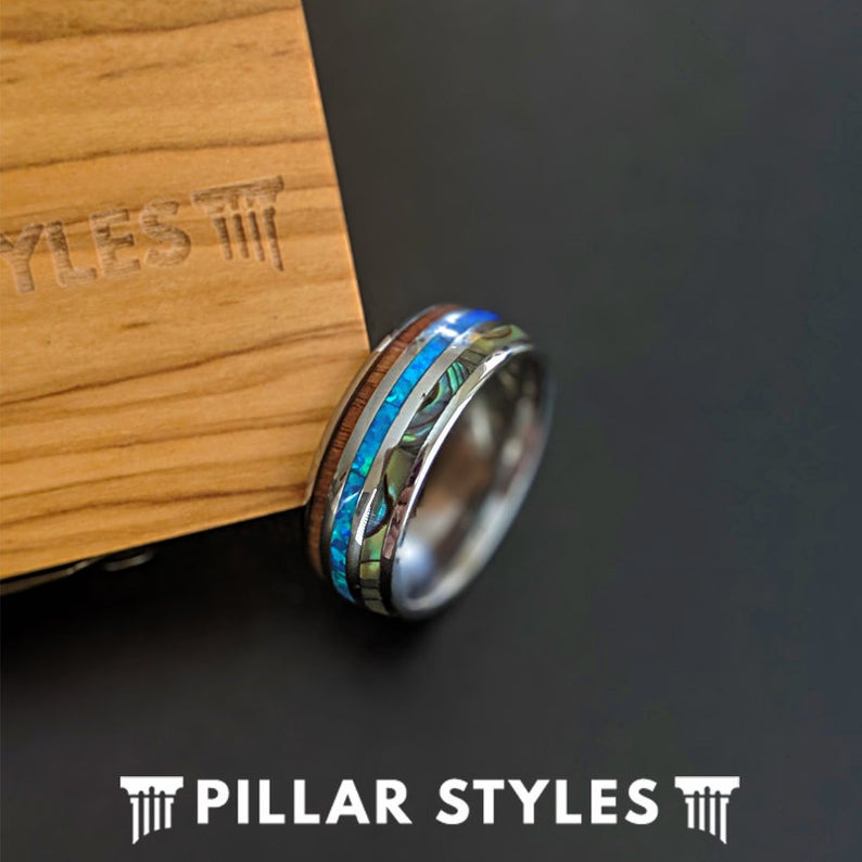 Koa Wood Ring with Abalone Shell & Blue Opal Ring Mens Wedding Band - Pillar Styles