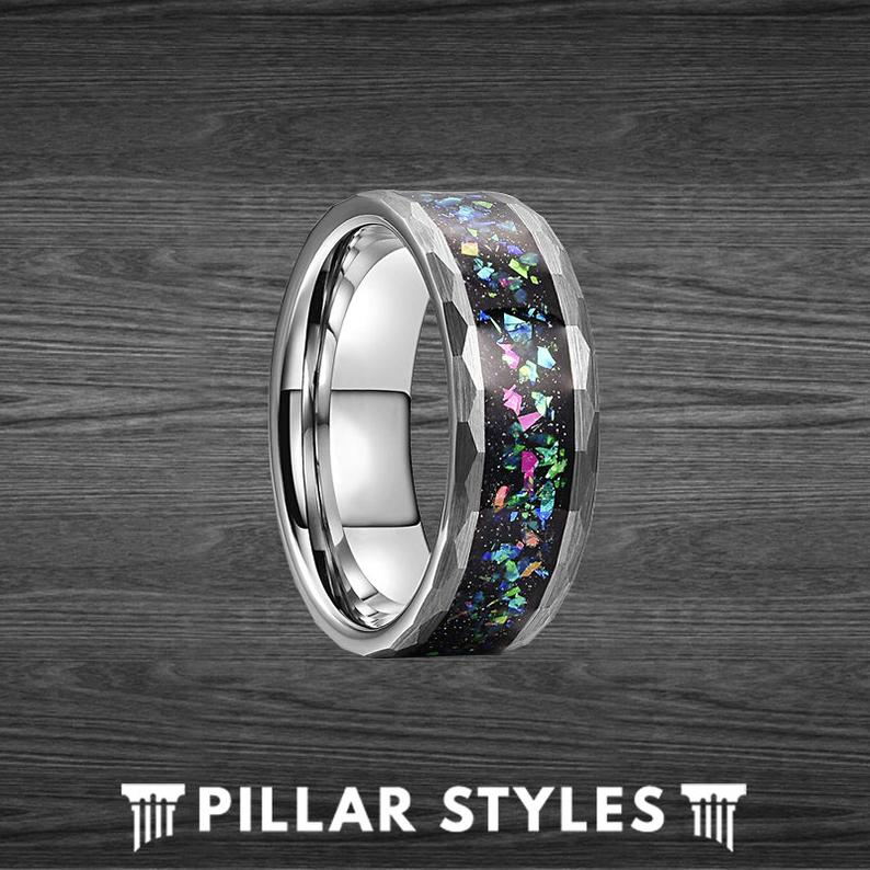 Silver Hammered Tungsten Opal Wedding Band - Pillar Styles