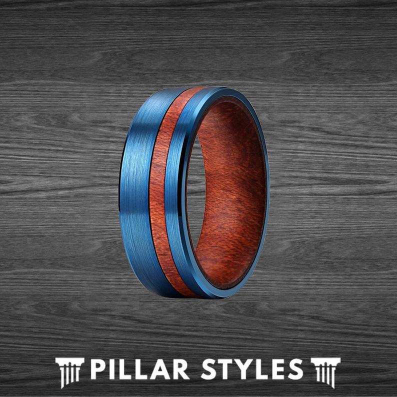 7mm Curly Koa Wood Ring Mens Wedding Band - Blue Tungsten Ring - Unique Wooden Ring - Pillar Styles