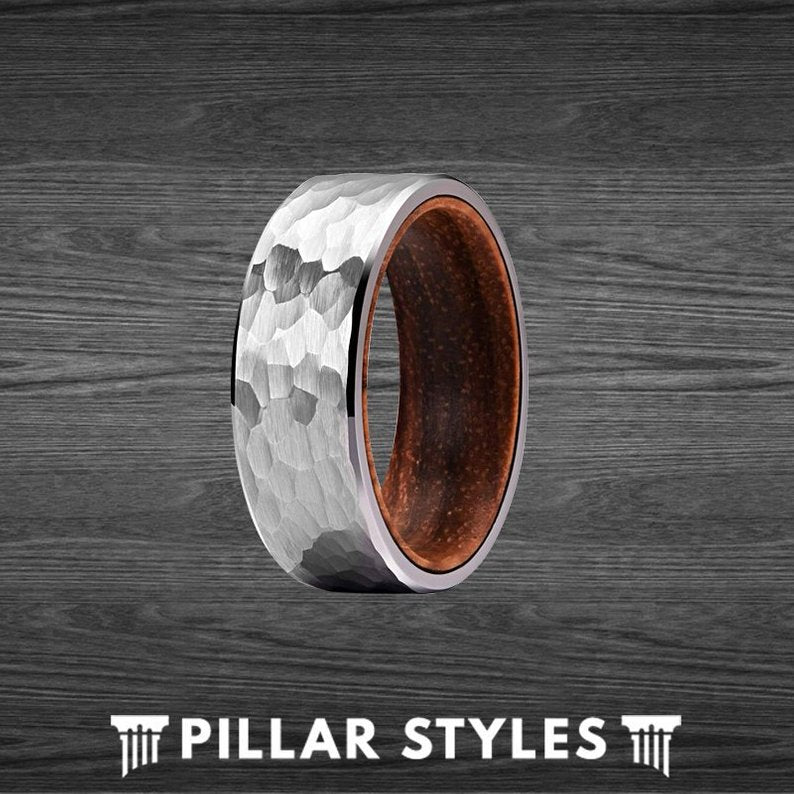 Hammered Ring - Unique Koa Wood Ring Tungsten Wedding Band Mens Ring - Pillar Styles
