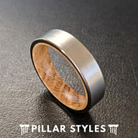 6mm Silver Whisky Barrel Wood Ring Mens Wedding Band Wood Inlay Ring - Pillar Styles