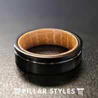 6mm Whiskey Barrel Ring Mens Wedding Band - Wood Inlay Ring - Pillar Styles