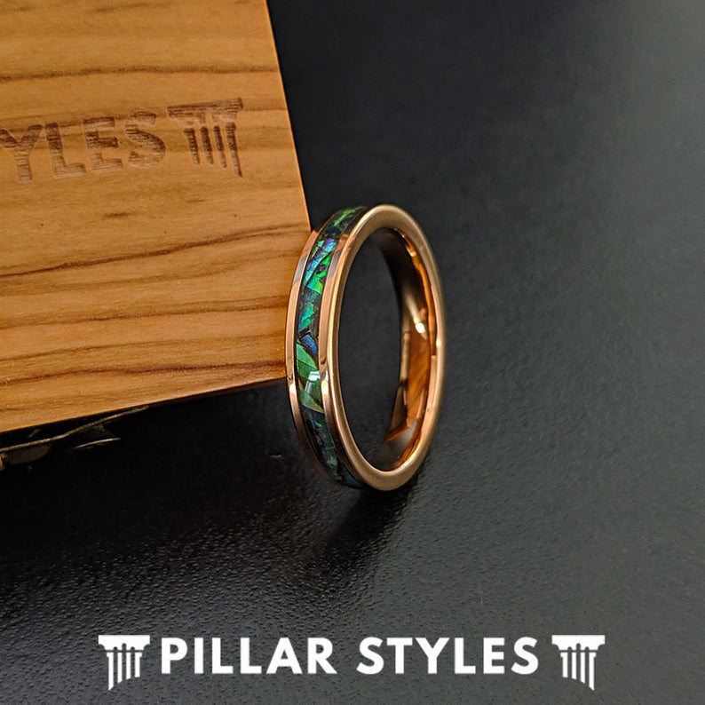 Gold Ring with Exotic Abalone Inlay - Pillar Styles