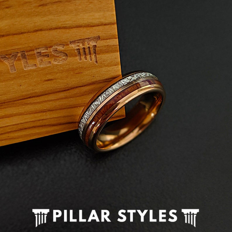 6mm Rose Gold Ring with Meteorite & Wood Inlays - Tungsten Meteorite Wedding Rings - 6mm & 8mm Koa Wood Ring Couples Ring Set - Pillar Styles
