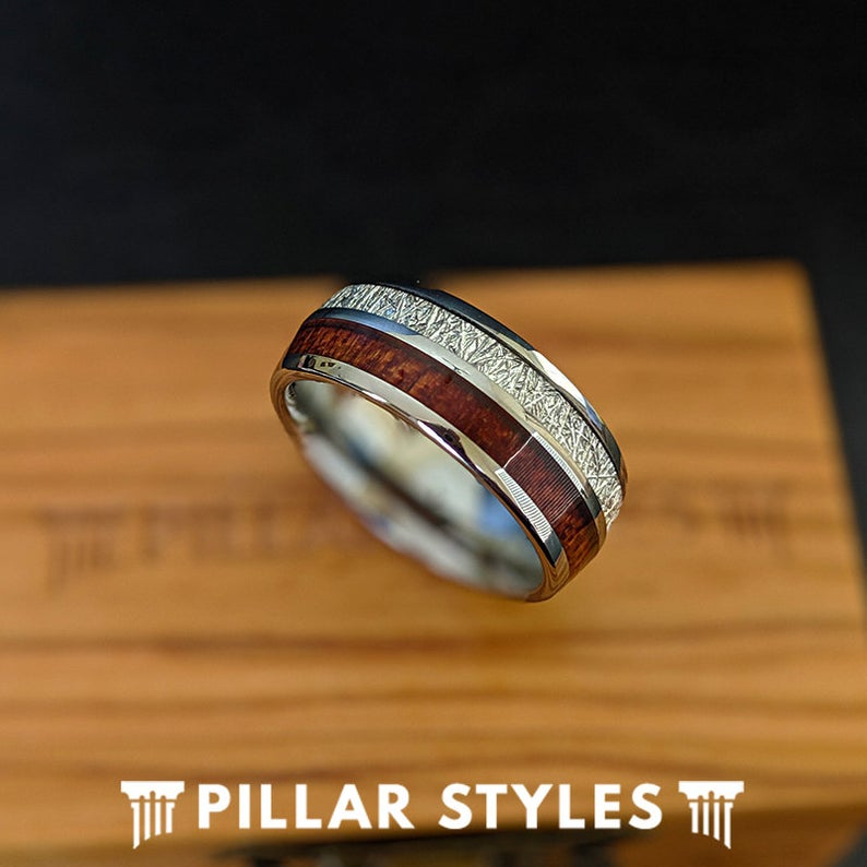 Tungsten Meteorite Ring with Rare Koa Wood Wedding Band - Pillar Styles
