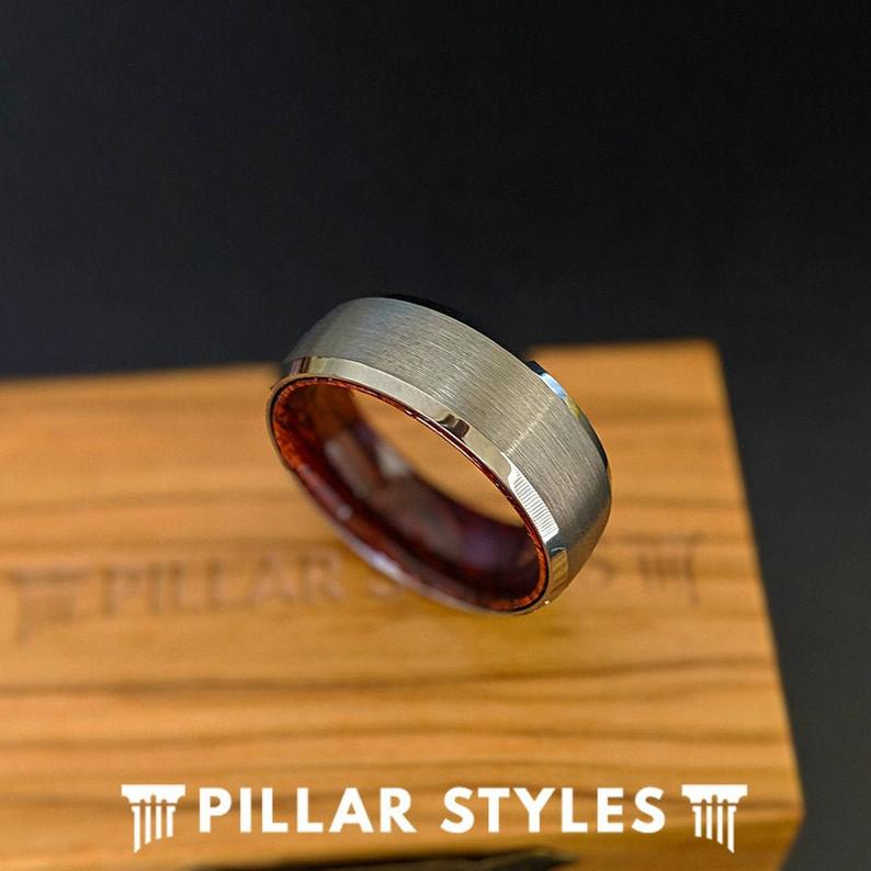 Rose Wood Ring Mens Wedding Band - 8mm Silver Tungsten Ring for Men with Beveled Edges - Pillar Styles