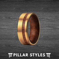 Tungsten 14K Gold Ring with Curly Koa Wood Inlay - Unique Mens Wedding Band - Pillar Styles