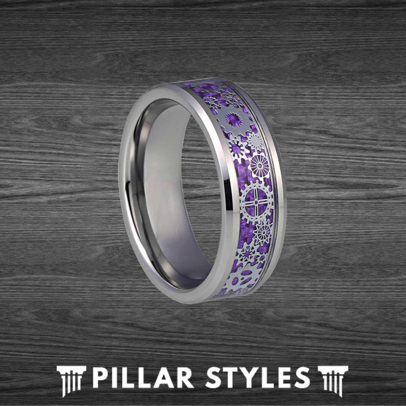 Purple Steampunk Ring Tungsten Wedding Band - Carbon Fiber Ring Gearhead Mechanical Ring - Pillar Styles