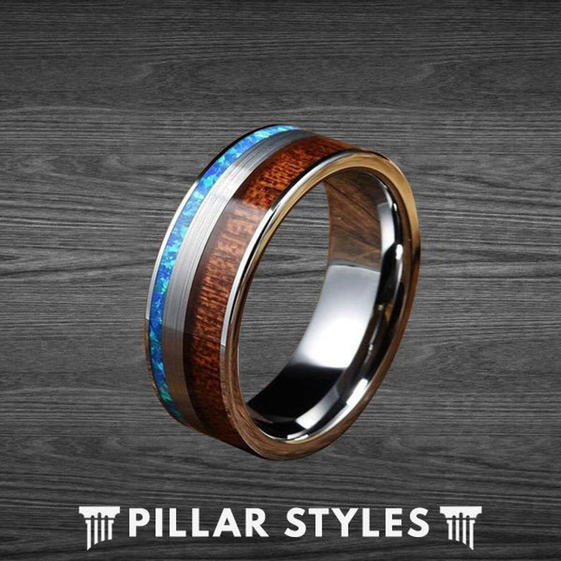 Blue Opal Ring Tungsten Ring with Koa Wood - Pillar Styles
