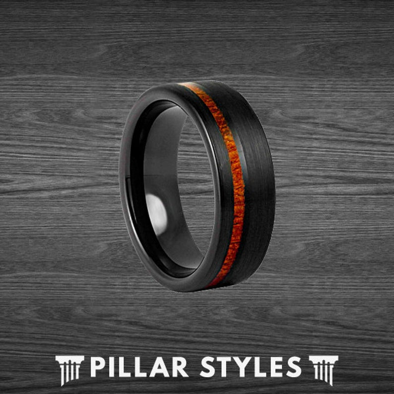 6mm Koa Wood Ring Mens Wedding Band Tungsten Ring - Black Mens Ring with Koa Wood Inlay - Pillar Styles