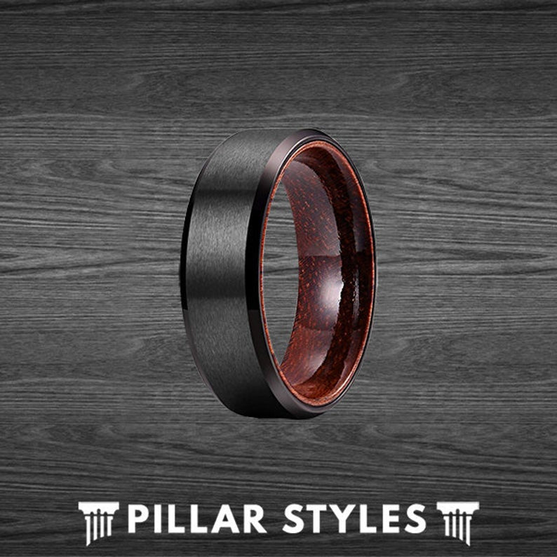 Black Titanium Ring Mens Wedding Band - Rose Wood Wedding Band - Pillar Styles