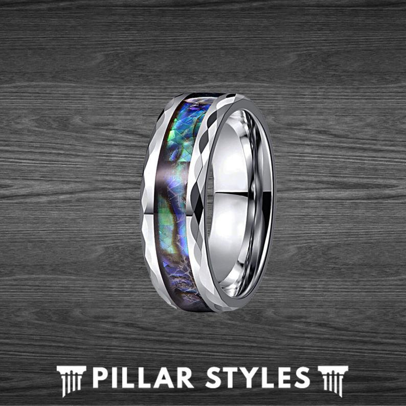 Tungsten Abalone Ring Mens Wedding Band - 8mm Faceted Abalone Shell Ring - Pillar Styles