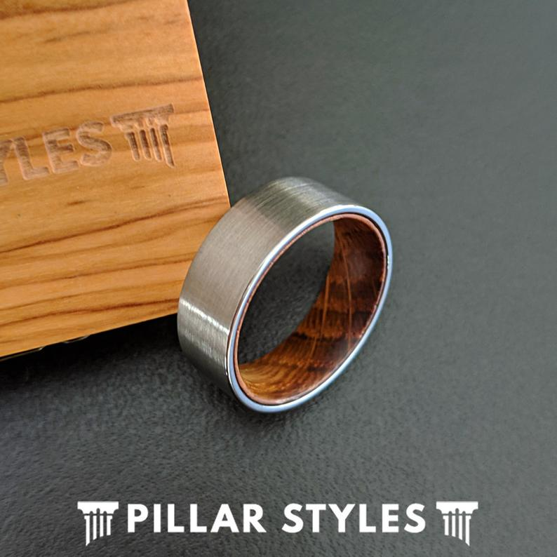 Pipe Cut Whiskey Barrel Ring Mens Wedding Band Wood Ring - Pillar Styles