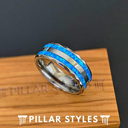 Blue Fire Opal Ring Tungsten Wedding Band Mens Ring - Faceted Opal Rings - Pillar Styles