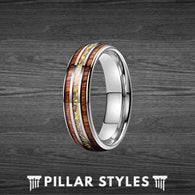 Fire Opal Ring Koa Wood Ring Tungsten Wedding Band Mens Ring - Koa Wood Wedding Ring - Pillar Styles