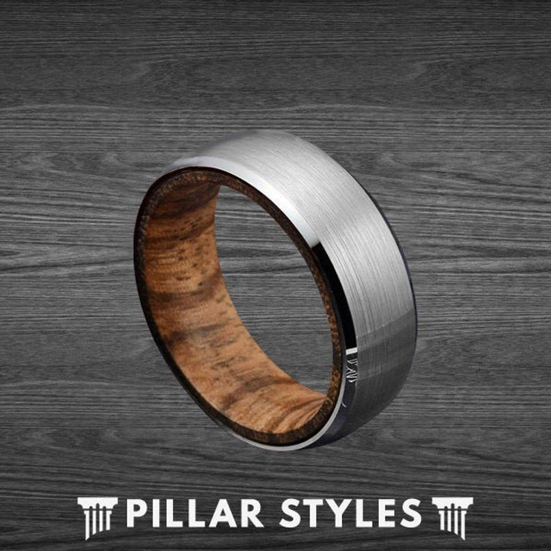 Mens Wedding Band Zebra Wood Ring 8mm Silver Tungsten Ring - Pillar Styles