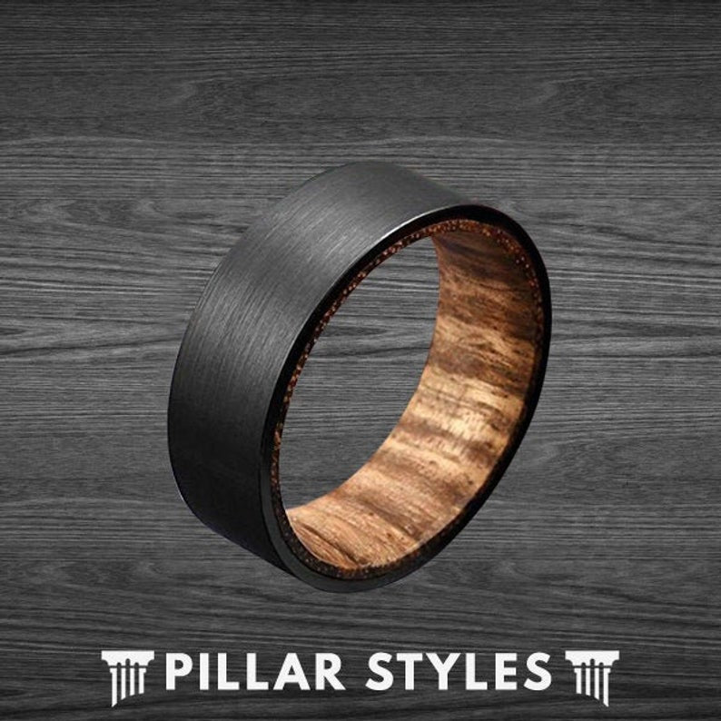 8mm Black Tungsten Wedding Band Men Zebra Wood Ring - Pillar Styles
