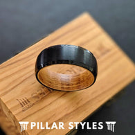 Black Whiskey Barrel Ring Mens Wedding Band - Wood Inlay Ring Tungsten Whiskey Ring - Pillar Styles