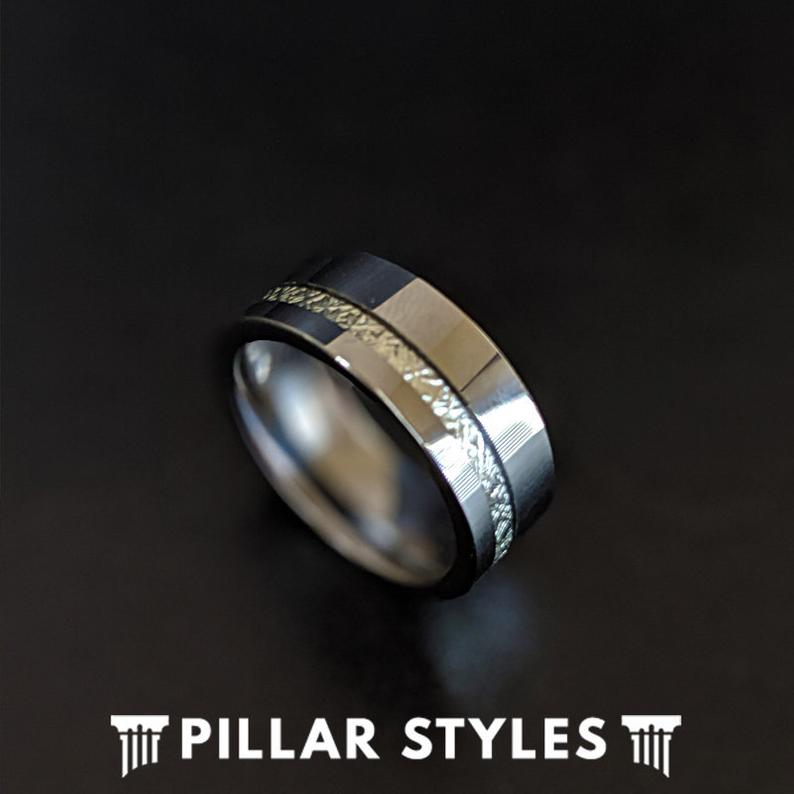 Mens Meteorite Ring - Tungsten Ring Meteorite Wedding Bands - Pillar Styles