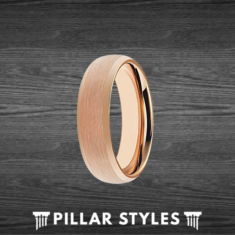Thin Rose Gold Ring Mens Wedding Band - 6mm Rose Gold Tungsten Ring - Pillar Styles