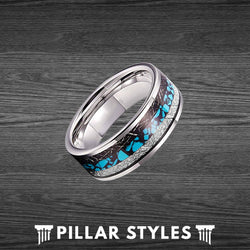 8/6mm Meteorite Ring Mens Wedding Band with Turquoise Inlay - Pillar Styles